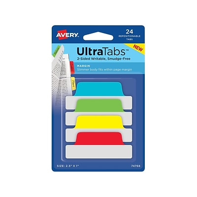 Avery UltraTabs Repositionable Margin Index Tabs, Primary Colors, 24 Tabs/Pack (74768)