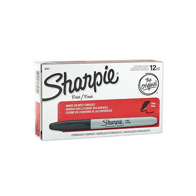 Sharpie Permanent Markers, Fine Point, Black, 12/Pack (30001)
