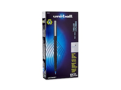 uni-ball ROLLER Rollerball Pens, Micro Point, Blue Ink, 12/Pack (60153)