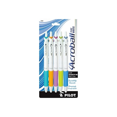 Pilot Acroball PureWhite Retractable Ballpoint Pens, Fine Point, Black Ink, 5/Pack (31861)