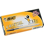BIC Cristal Ballpoint Pens, Medium Point, Black Ink, 12/Pack (MS11BK)