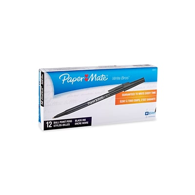 Paper Mate Write Bros Ballpoint Pens, Medium Point, Black Ink, 12/Pack (33311)