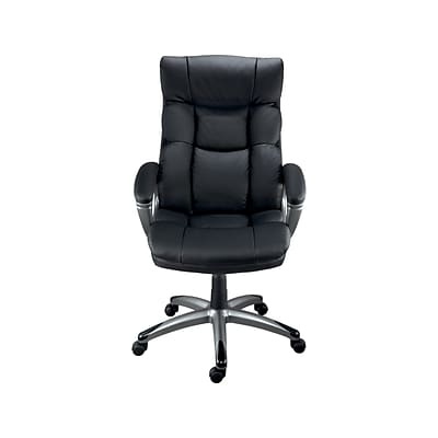 Quill Brand® Burlston Luxura Managers Chair, Luxura, Black, Seat: 18.1W x 17.9D, Back: 19.7W x 23.6H