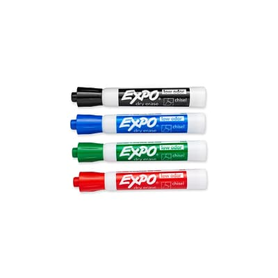 Expo Dry Erase Markers, Chisel Point, Assorted, 4/Pack (80074)