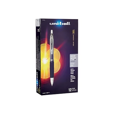 uni-ball 207 Retractable Gel Pens, Medium Point, Black Ink, 12/Pack (33950)