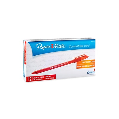 Paper Mate ComfortMate ST Ballpoint Pens, Medium Point, Red Ink, 12/Pack (6120187)