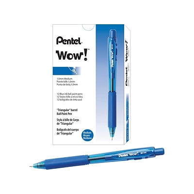 Pentel WOW! Retractable Ballpoint Pens, Medium Point, Blue Ink, 12/Pack (BK440-C)