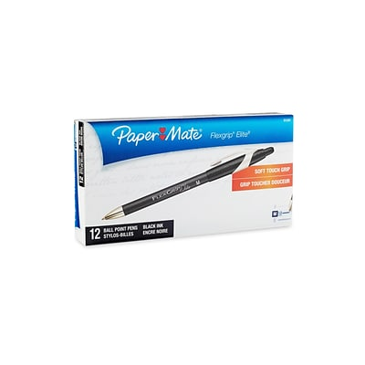 Paper Mate FlexGrip Elite Retractable Ballpoint Pens, Medium Point, Black Ink, 12/Pack (85580)