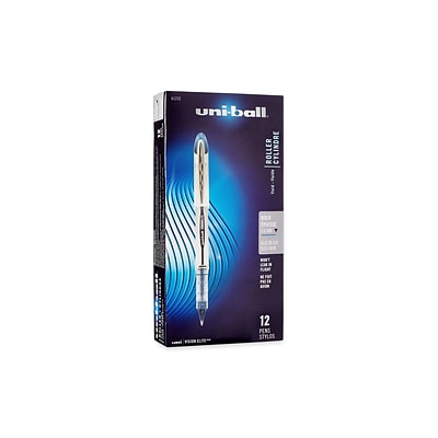uni-ball VISION ELITE Rollerball Pens, Bold Point, Blue/Black Ink, 12/Pack (61232)