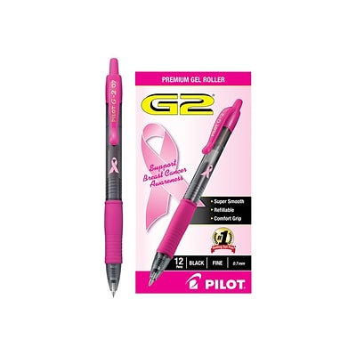 Pilot G2 BCA Retractable Gel Pens, Fine Point, Black Ink, 12/Pack (31332)