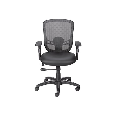 Quill Brand® Corvair Mesh Back Luxura Faux Leather Computer and Desk Chair, Black (23097)