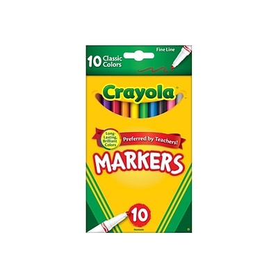 Crayola Classic Kids Markers, Fine Point, Assorted, 10/Pack (58-7726)