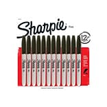 Sharpie Permanent Markers, Fine Point, Black, 12/Pack (1812419)