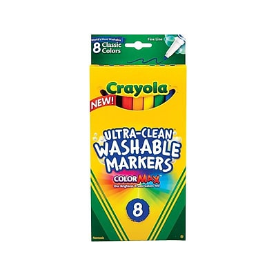 Crayola Classic Kids Markers, Fine Point, Assorted, 8/Pack (58-7809)