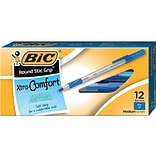 BIC Round Stic Grip Xtra Comfort Ballpoint Pens, Medium Point, Blue Ink, 12/Pack (GSMG11BE)