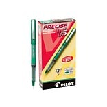Pilot Precise V5 Rollerball Pens, Extra Fine Point, Green Ink, 12/Pack (25104)
