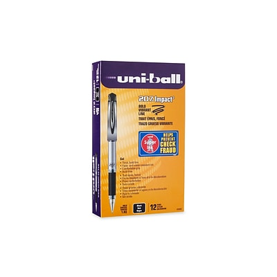 uni-ball 207 Impact Gel Pens, Bold Point, Black Ink, 12/Pack (65800)
