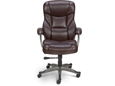 Quill Brand® Osgood™ High-Back Executive Chair, Bonded Leather, Brown (22298R)