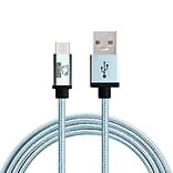 Rhino micro USB  Cable -3.3 Feet Coral Blue-Tough-Braided Extra-Strong Jacket - Sync/Charge,  5000+