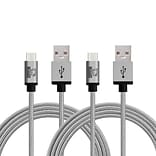 Rhino micro USB  Cable -10 Feet Grey - Tough-Braided Extra-Strong Jacket - Sync/Charge,  5000+ Bend