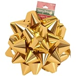 JAM Paper® Gift Bows, Large, 7 Diameter, Gold Metallic, 24/carton