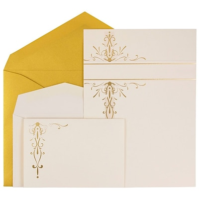 JAM Paper® Wedding Invitation Combo Set, 1 Small & 1 Large, Ecru Gold Floral Cards with Gold Envelopes, 150/pack