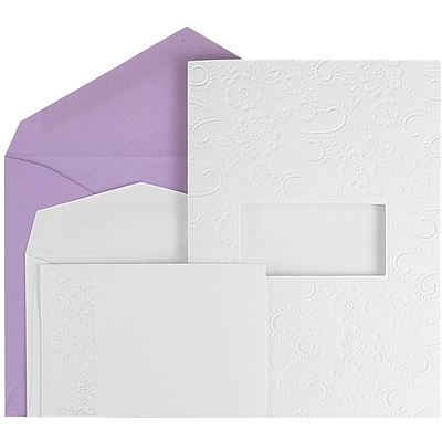 JAM Paper® Wedding Invitation Combo Set, 1 Large & 1 Small, White Embossed Cards with Lilac Envelopes, 150/pack