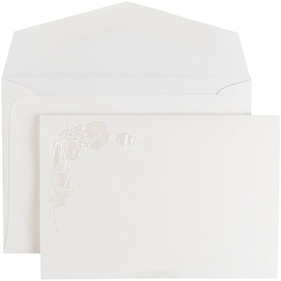 JAM Paper® Wedding Invitation Set, Small, 4 7/8 x 3 3/8, White Embossed Beach with White Envelopes, 100/pack