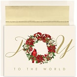 JAM Paper® Christmas Card Set, Cardinal Wreath Joy Holiday Cards, 18/pack