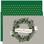 JAM Paper® Christmas Card Set, Christmas Wreath Holiday Cards, 18/pack