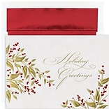 JAM Paper® Christmas Card Set, Leaves and Berries Holiday Cards, 16/pack