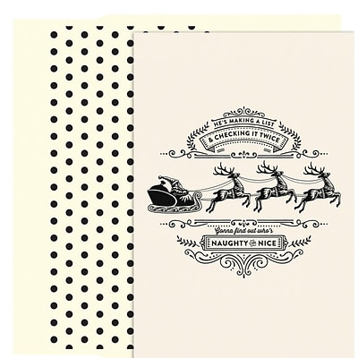 JAM Paper® Christmas Card Set, Making A List Holiday Cards, 18/pack