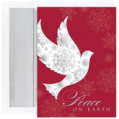 JAM Paper® Christmas Card Set, Snowflake Peace Dove Holiday Cards, 16/pack