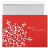 JAM Paper® Christmas Card Set, Silver & Red Flake Holiday Cards, 16/pack
