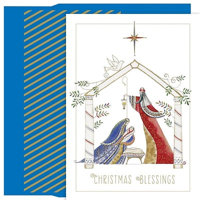 JAM Paper® Christmas Card Set, Contemporary Manger Holiday Cards, 18/pack