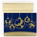 JAM Paper® Christmas Card Set, Dove Ornaments Holiday Cards, 16/pack