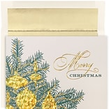JAM Paper® Christmas Card Set, Golden Baubles Holiday Cards, 16/pack