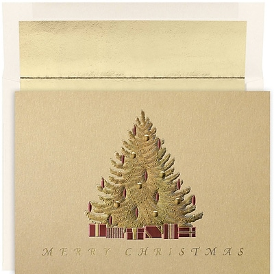 JAM Paper® Christmas Card Set, Golden Tree Holiday Cards, 16/pack