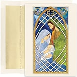 JAM Paper® Christmas Card Set, Holy Family Stained Glass Holiday Cards, 16/pack