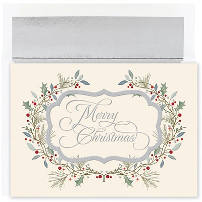 JAM Paper® Christmas Card Set, Merry Christmas Holiday Cards, 18/pack