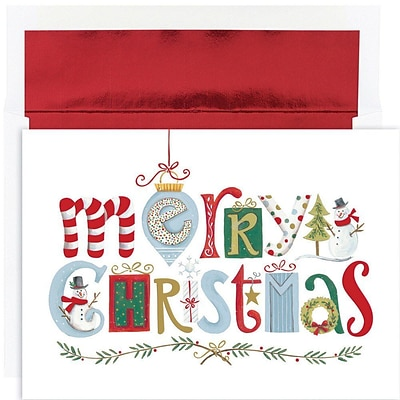 JAM Paper® Christmas Card Set, Merry Christmas Elements Holiday Cards, 16/pack