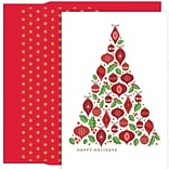 JAM Paper® Christmas Card Set, Ornament Tree Holiday Cards, 18/pack
