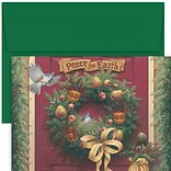 JAM Paper® Christmas Card Set, Peace On Earth Wreath Holiday Cards, 18/pack