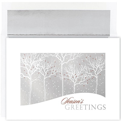 JAM Paper® Christmas Card Set, Silver Treelines Holiday Cards, 16/pack