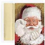 JAM Paper® Christmas Card Set, Sparkling Santa Holiday Cards, 18/pack
