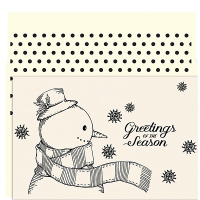 JAM Paper® Christmas Card Set, Vintage Snowman Holiday Cards, 18/pack