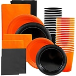 JAM Paper® Party Supply Assort, Orange & Black Grad Pack, Plates (2 Sizes), Napkins (2 Sizes), Cups
