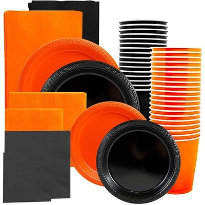JAM Paper® Party Supply Assort, Orange & Black Grad Pack, Plates (2 Sizes), Napkins (2 Sizes), Cups & Tablecloths, 12 Total