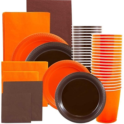 JAM Paper® Party Supply Assort, Orange & Brown Grad Pack, Plates (2 Sizes), Napkins (2 Sizes), Cups & Tablecloths, 12 Total