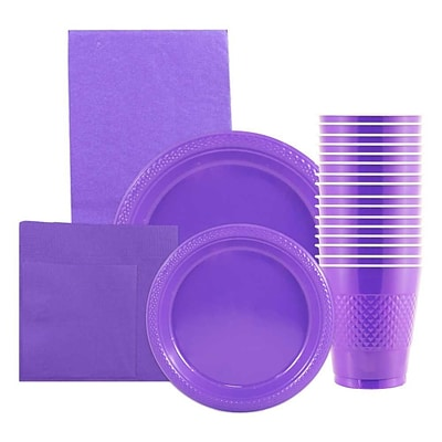 JAM Paper Party Supply Assortment, Purple, Plates, Napkins, Cups (1pk) & Tablecloth (1pk), 6 Items Total